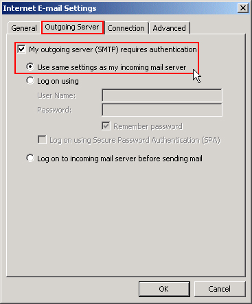 Click the Outgoing Server tab and ensure these options are selected.